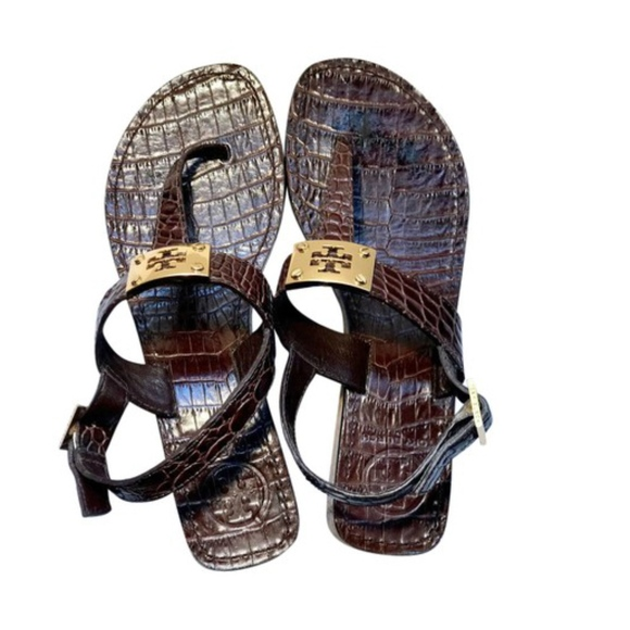 0135e2f817d457 TORY BURCH BROWN LEATHER CROC T-STRAP THONG SANDAL.  M 5af23dae3a112ed3474b158d